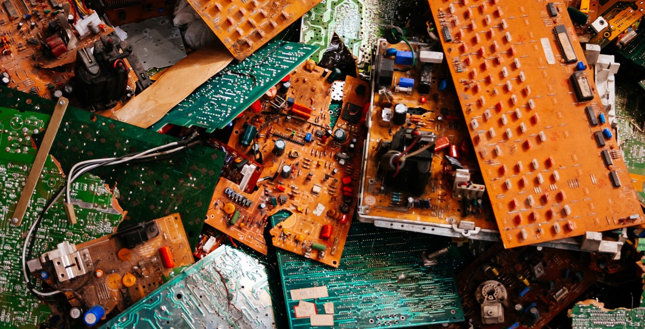 Decorative picture of discarded circuit boards